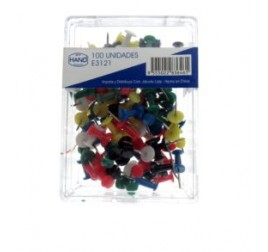 ALFILER PUSH PINS HAND COLORES (X100)